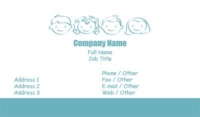 Teal and White Pediatrician Business Card Template